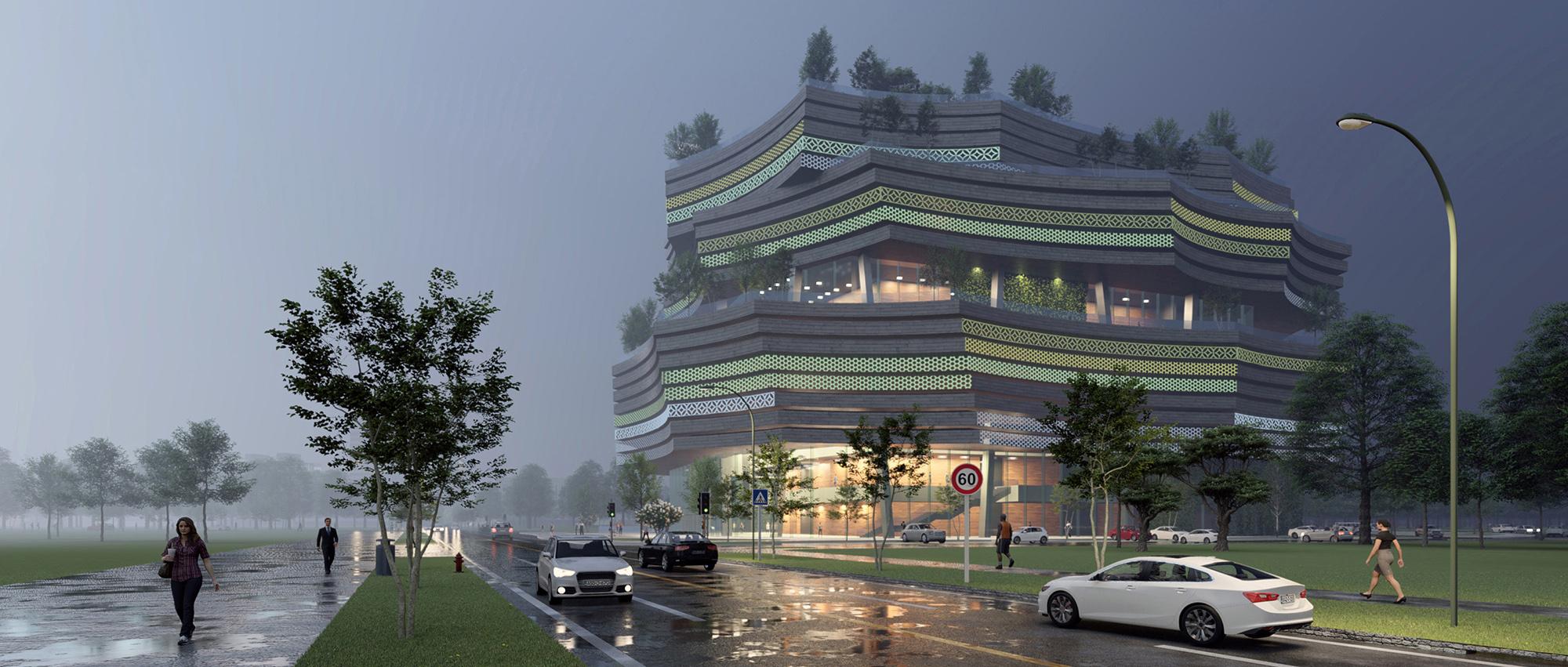 浮音绿岛:巴尼亚卢卡会议中心国际竞赛方案