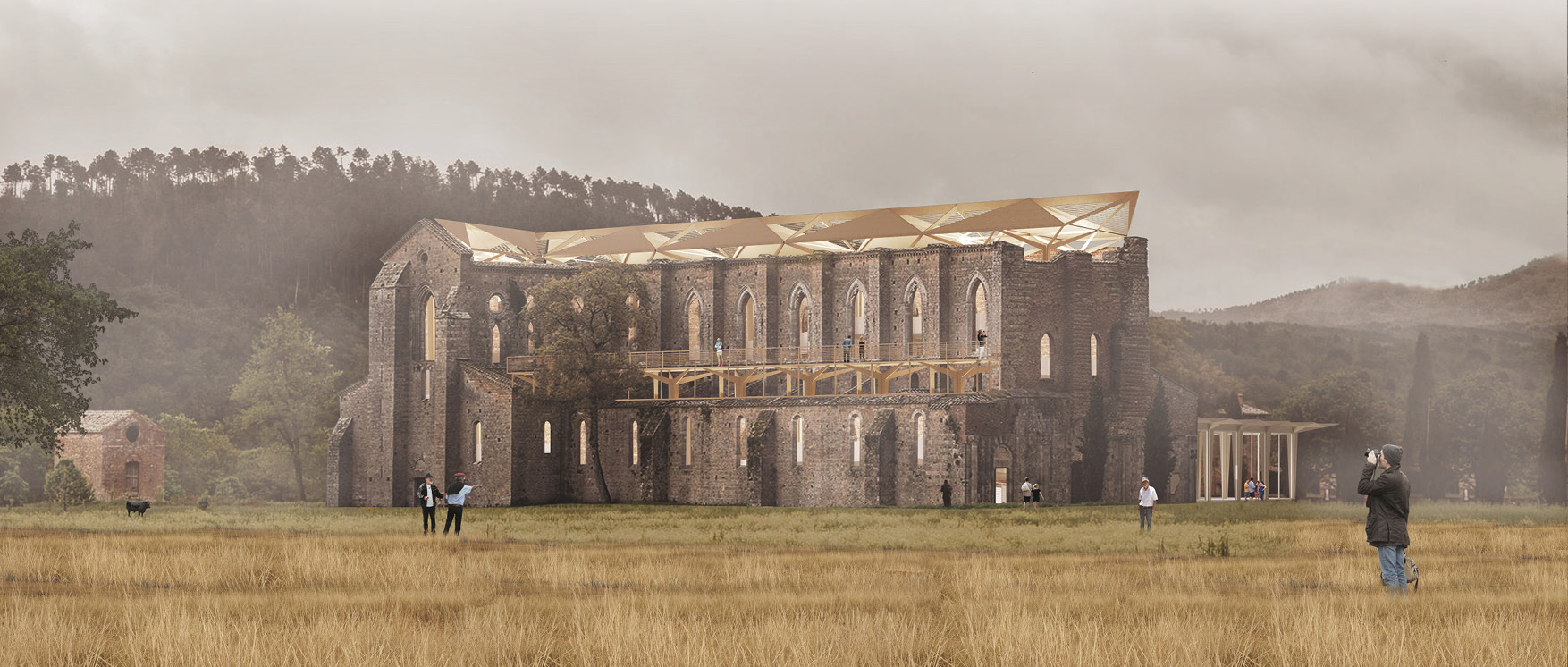 """木构的""""树冠"""":San Galgano修道院博物馆设计竞赛一等奖"""