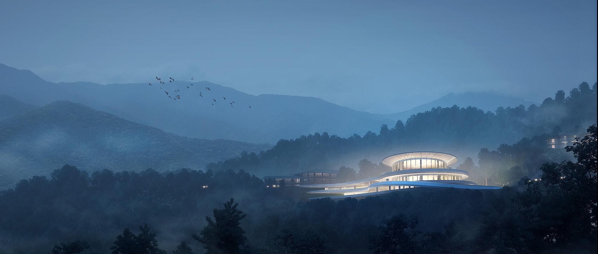 """""""融于自然,地景之上"""":江西虔心小镇展厅设计提案"""