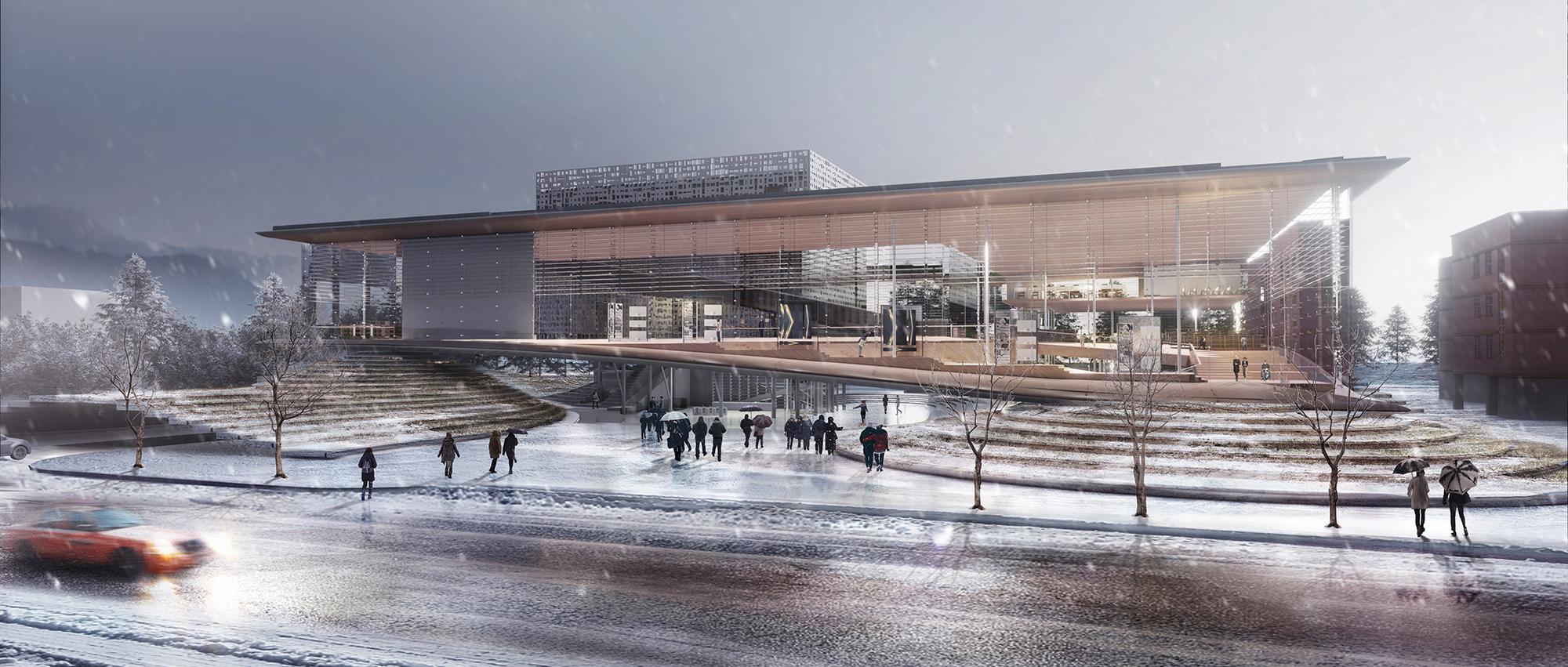 """""""连接"""":松岛国际城图书馆国际设计竞赛荣誉提名"""