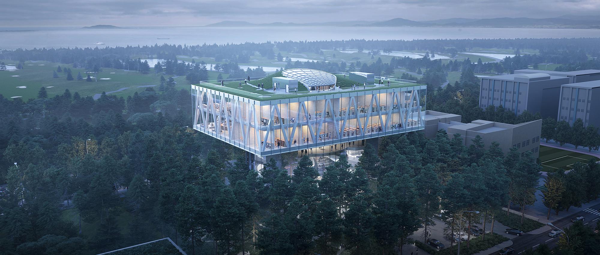 森林上的图书馆:松岛国际城图书馆国际设计竞赛提案
