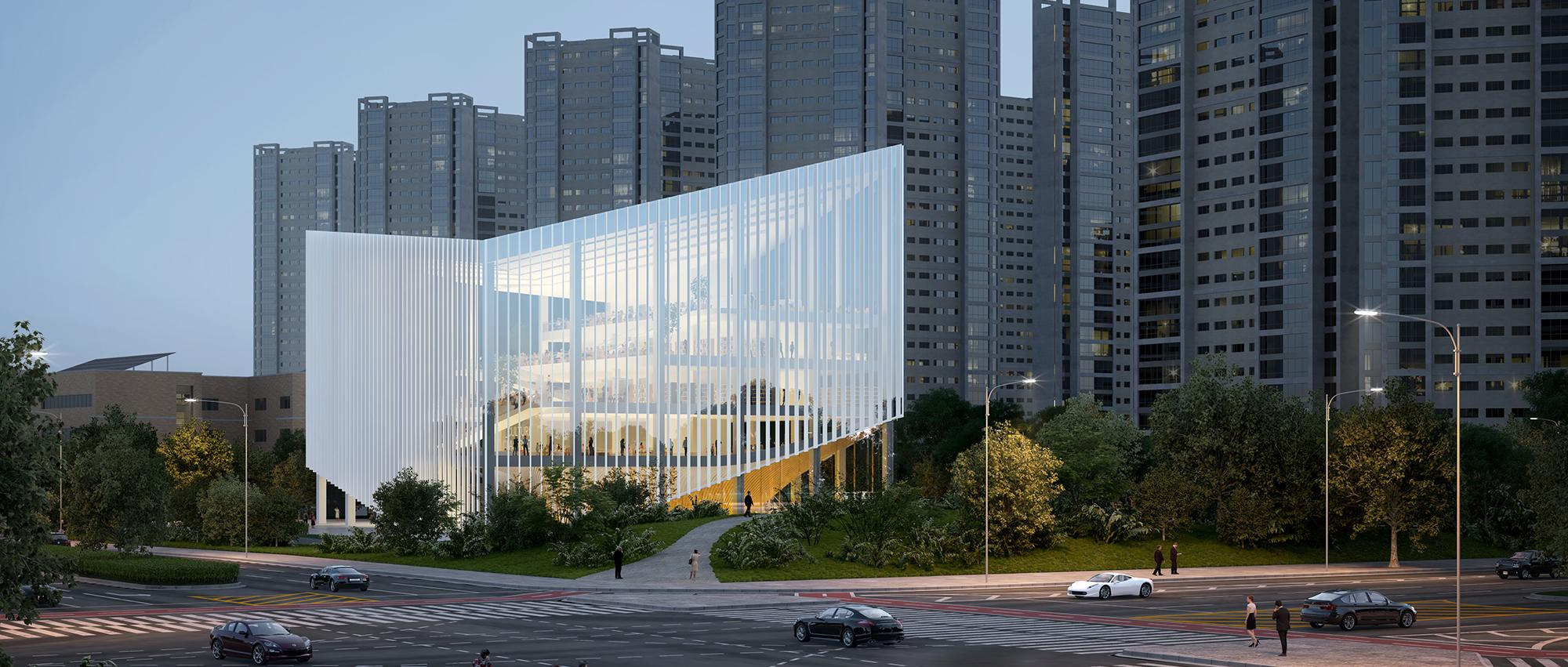 """""""梯田"""" 图书馆:松岛国际城图书馆国际设计竞赛提案"""